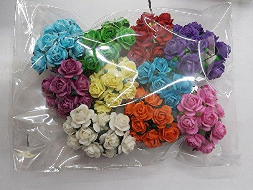 100 Mixed Color 10mm Artificial Mulberry Paper Rose Flower Wedding Scrapbook 1.5cm Diy Craft Scrapbook Pink Scrapbooking Bouquet Craft Stem Handmade Rose Valentines Anniversary Embellishment by MulberryPaperStock