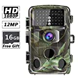 RUNACC 12MP 1080P Trail Camera High-Definition Hunting Cameras Motion Activated Wildlife Game Cam with Night Vision, 0.2-0.6s Trigger Time, IP56 Waterproof, 2.4'' LCD Screen, 16GB TF Card Included