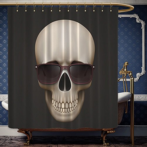 Wanranhome Custom-made shower curtain Skulls Skull with Sunglasses Digital Print Urban Man Cave Bath Decor Adventure Design Special Designed Artistic Pattern For Bathroom Decoration 72 x 92 - Meme Inside Sunglasses