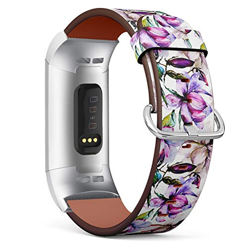 (Compatible with Fitbit Charge 3 / Charge 3 SE - Leather Watch Wrist Band Strap Bracelet with Stainless Steel Clasp and Adapters (Magnolia Flowerbeautiful Blossom))
