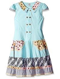 Sunny Fashion girls Girls Dress Blue Cute Colorful Collar Back School