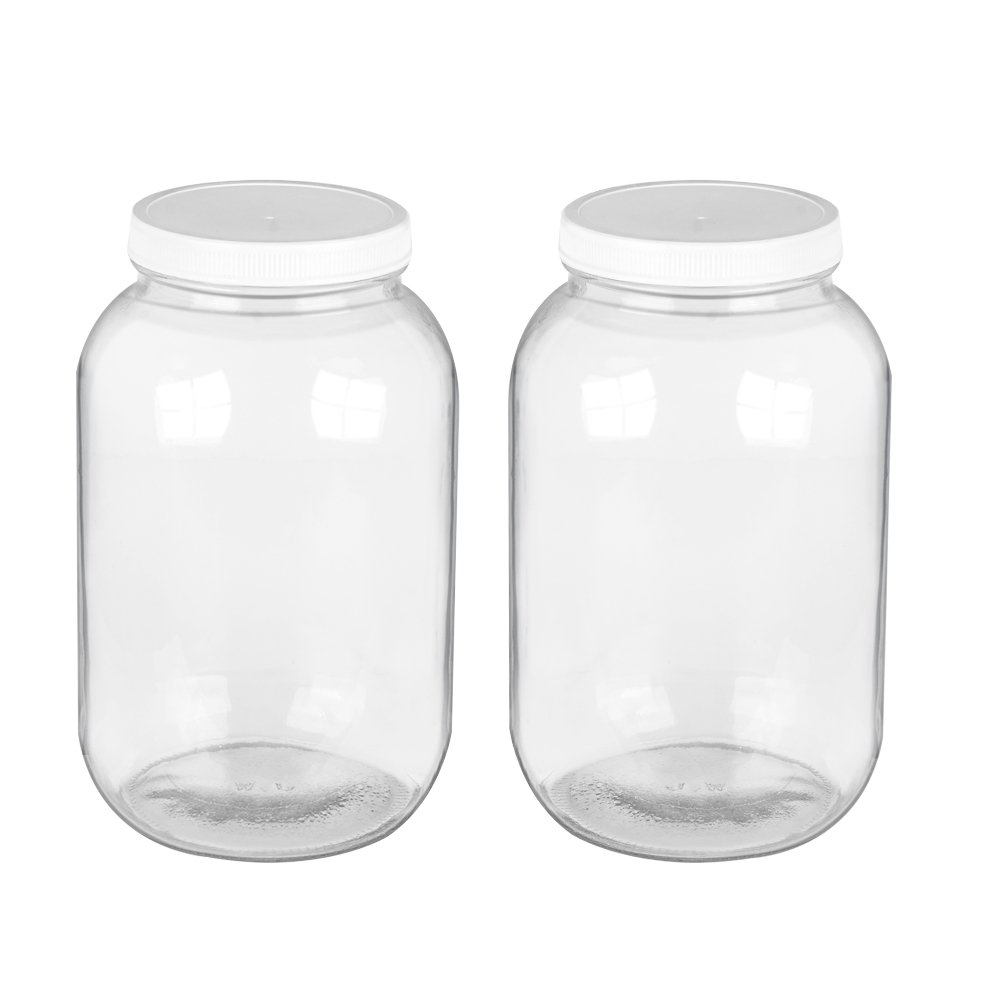 2 pack 1 Gallon Glass Jar,Clear Glass Gallon Bottle with Plastic Lid. BPA-Free Dishwasher Safe Kombucha Jar, for Fermenting,Kefir,Storing and Canning.