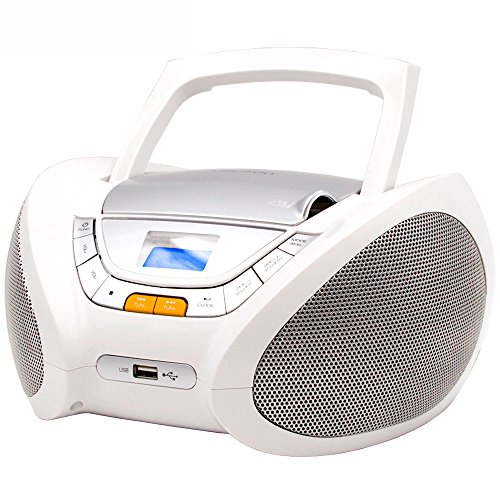 Lauson Boombox With Cd Player Mp3 | Portable Radio CD-Player Stereo with USB | USB & MP3 Player | Headphone Jack (3.5mm) CP543 (White)