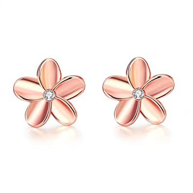 FJYOURIA Ladies Gold Earings Womens Rose Gold/Sliver Color Flower Shaped Sparkly Rhinestone Stud Earrings Best for Gift K1FGj