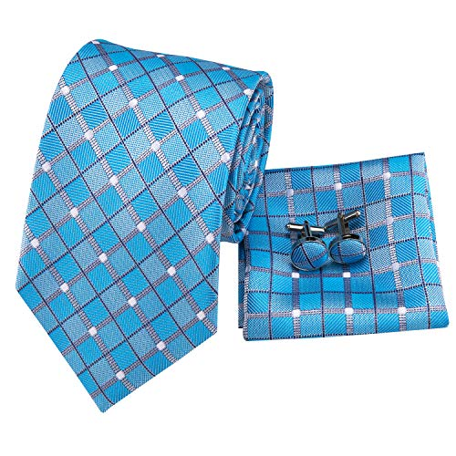 (Hi-Tie New Arrival Mens Blue Plaid Checks Tie Necktie Pocket Square Cufflinks Gift Box Set)