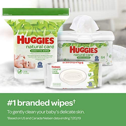 51T4Oru2CcL. AC - Huggies Natural Care Sensitive Baby Wipes, Unscented, 9 Flip-Top Packs (504 Wipes Total)