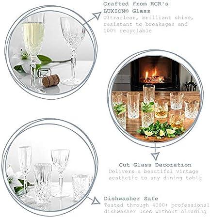 Orquesta Cristal RCR Cortar Vidrio cristalería - Copas de Vino, Copas de champán, Vasos de Whisky y vidrios de Highball - Set 24pc