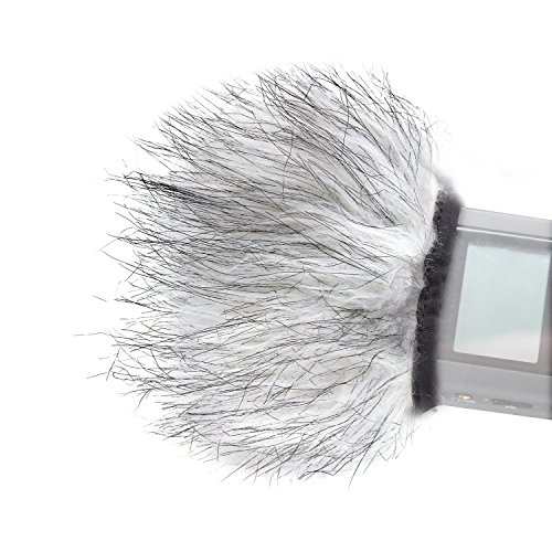 Movo WS9 Furry Outdoor Microphone Windscreen Muff for Portable Digital Recorders up to 3 X 1.5 (W x D) - Fits the Zoom H4n, H5, H6, Tascam DR-40, DR-05, DR-07 and More (Light Gray)