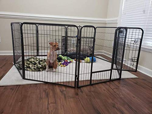 Nova Natural 32-inch Heavy Duty Extra Large Exercise Pen with Door, Large Big Dog Black Pet Pen with 8 Panels, Adjustable Kennel Playpen for Patio, Garden, Camping, Home, Living Room