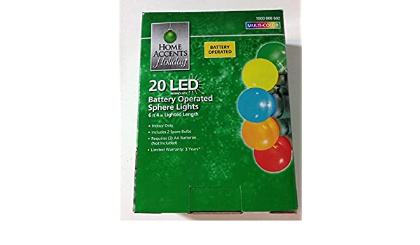 Multicolored Home Accents Holiday 20 LED Battery Operated Sphere Lights