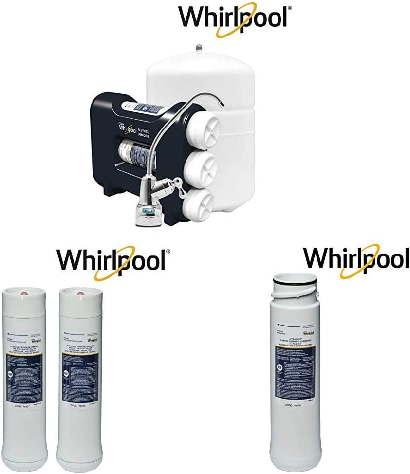 Whirlpool WHAROS5 Reverse Osmosis (RO) Water Filtration System With Pre/Post Replacement Filters & Replacement Membrane