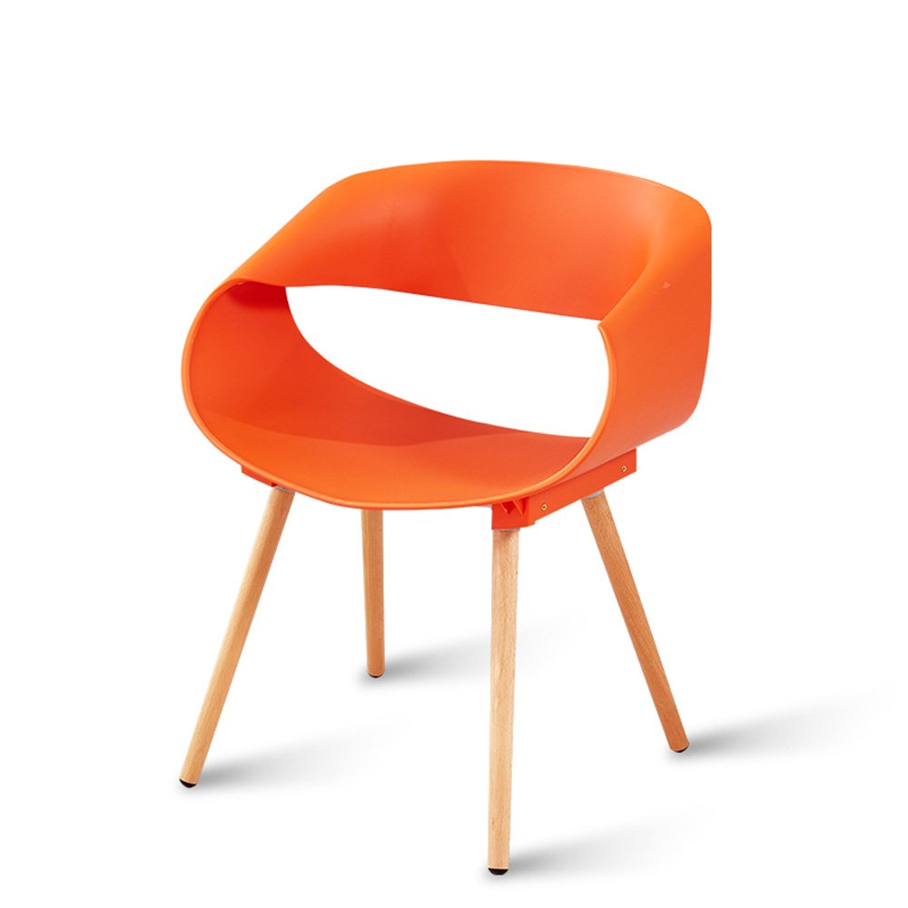 Home desk and chair / restaurant creative leisure chair / modern simple plastic stool / back chair ( Color : Orange )