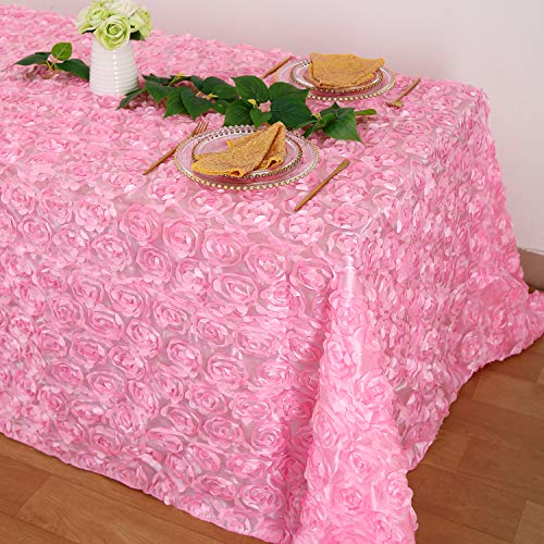 Fanqisi Satin Rosette Tablecloths - Pink 90
