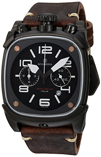CT-Scuderia-Mens-Scrambler-Swiss-Quartz-Stainless-Steel-and-Leather-Casual-Watch-ColorBrown-Model-CS70113