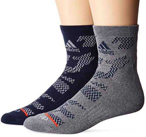 adidas Men's High Quarter Socks (2-Pack), Collegiate Navy Tiger Print/Onix Light Onix Marl/Light Onix/Energy Red, Men's Shoe ()