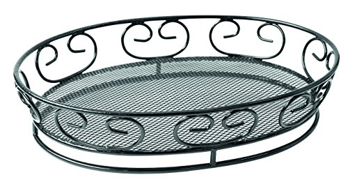 Black Oval Steel Bread Basket with Side Designs (Case of 6), PacknWood - Metal Wire Serving Basket Display (9.1