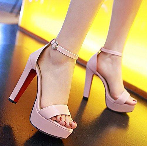 Aisun Womens Fashion Open Teen Dressy Buckled Chunky Hoge Hak Platform Sandalen Met Enkelbandje Roze