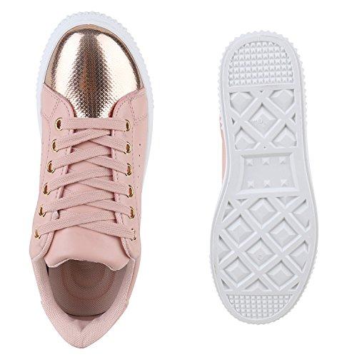 f74e363ae6f2 ... Stiefelparadies Damen Sneaker Low Glitzer Metallic Schuhe Gesteppte Sneakers  Turnschuhe Denim Sportschuhe Schnürer Lack Flats Schnürschuhe