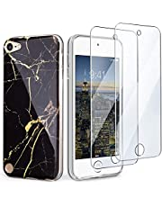 IDWELL iPod Touch Case with 2 Screen Protectors, iPod 6 Marble Case, Slim FIT Anti-Scratch Flexible Soft TPU Bumper Hybrid Shockproof Protective Case for Apple iPod Touch 5/6/7th Gen, Black Marble