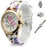 tia-ve Hot Fashion Women Dress Watch silicone printed Flower causal Quartz Wristwatches (rosa caldo)