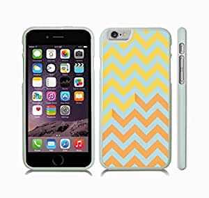 iStar Cases? iPhone 6 Case with Chevron Pattern Orange/ Yellow/ Mint Stripe , Snap-on Cover, Hard Carrying Case (White)