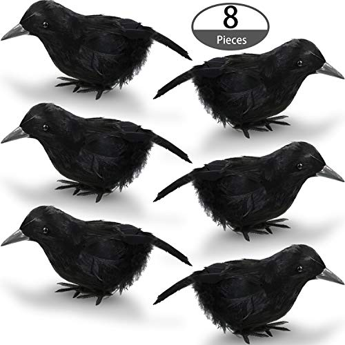 Blulu 8 Pieces 7inch Halloween Black Feathered Small Crows Black Birds Ravens Props Decor Realistic Decorations ()