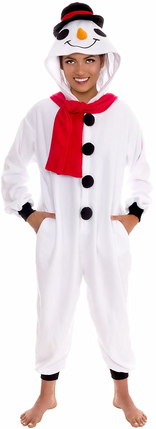 Plush One Piece Cosplay Holiday Snowman Costume Silver Lilly Unisex Pajamas