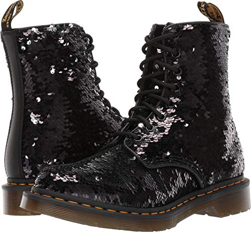 Dr. Martens Women's 1460 Pascal 8 Eye Boots, Black/Silver/Black, 9 M -