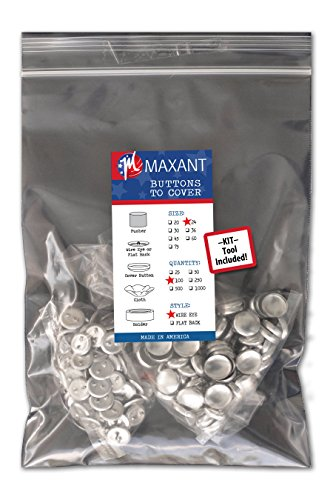 100 Buttons to Cover - Made in USA - Self Cover Buttons with wire eyes size 24 with Tool