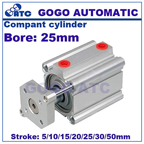 Ochoos smc Type air Cylinder CQMB/Davitu bore 25mm Stroke 5/10/15/20/25/30/35/40/45/50mm Compact Rod Guide Pneumatic Cylinder Components - (Color: Davitu25 30D)