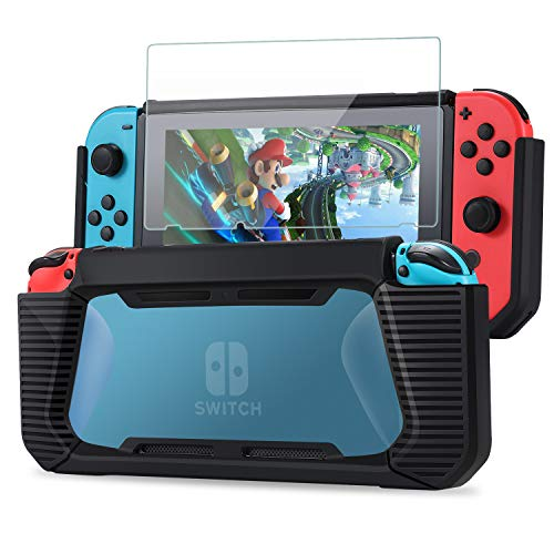 Tasikar Heavy Duty Case Compatible with Nintendo Switch Enhanced Grip Rubberized Protective Cover Case with Tempered Glass Screen Protector (Black - Blue)