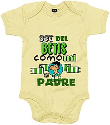 Body bebé Real Betis soy del Betis como mi padre - Amarillo, 6-12 meses