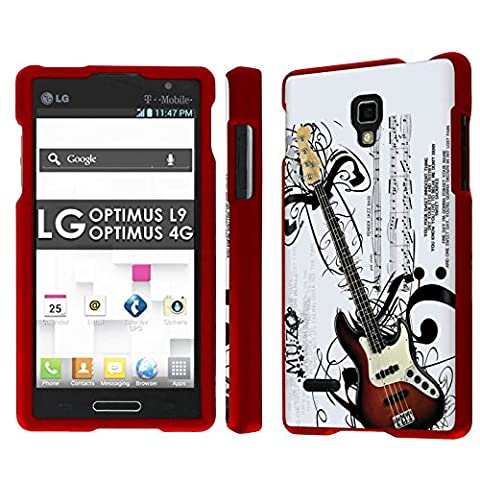 LG Optimus L9 [P769] [MS769] / Optimus 4G Total Armor Case [NakedShield] [Rose Red] Total Armor Case - [Music Guitar] for LG Optimus L9 [P769] [MS769] / Optimus (Lg L9 Music Case)