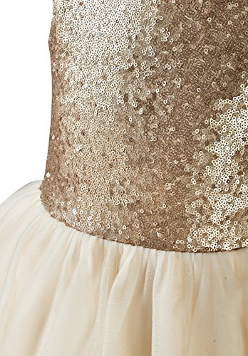 1b37da29702 princhar Sequin Tulle Short Girl Dress Little Girls Party Toddler Dress US  2T Champagne
