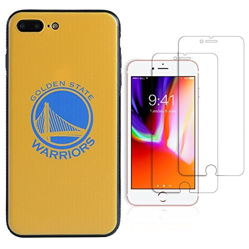 """Sportula NBA Phone Case give 2 Tempered Glass Screen Protectors - Extra Value Kit for iPhone 8 Plus/ iPhone 7 Plus (5.5"""") (Golden State Warriors) - Paint Team Graphic Kit"""