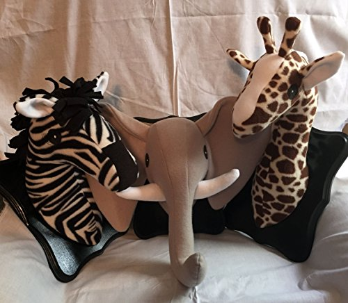 - Safari stuffed animal heads/Stuffed animal heads/Faux animal heads/Safari decor/Best Baby Shower gifts