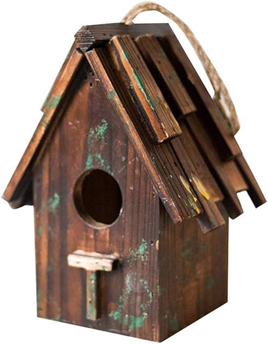 Queenhairs Nido de pájaro Caja de Madera Casa de pájaros Jardín de abarrotes Medio Hecho a Mano Nido de pájaro Patio Decorativo: Amazon.es: Productos para mascotas