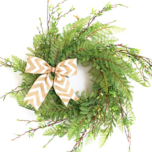 (Tiny Land Summer Wreath for Front Door with Knotted Bow, Handcrafted Wicker Rattan Loop Frame | Faux Home Decorative Display | Rustic, Farmhouse Decor)