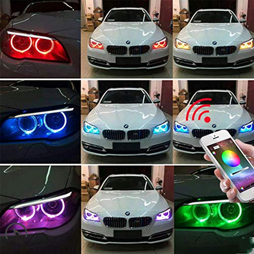 Smart Phone iOS Android App Bluetooth Control Multil-Color Led COB Light Circle Ring Headlight Lamp Light with Housing 12V EverBright 1Set 90MM RGB Car Angel Eyes Halo Rings