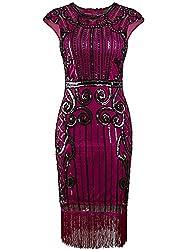 Vintage Inspired Sequin Fringe Long Gown