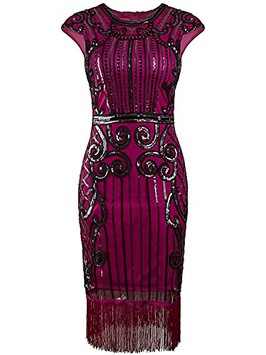 Vijiv 1920s Vintage Inspired Sequin Embellished Fringe Long Gatsby Flapper Dress,Rose Red,Medium -
