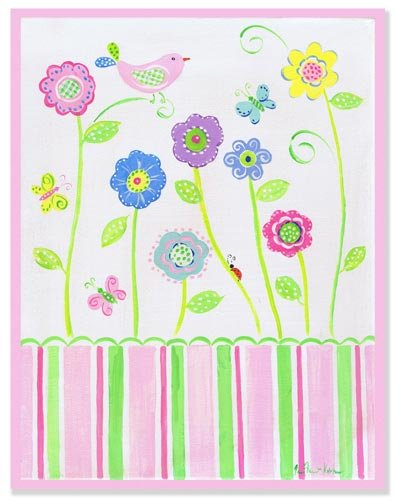 The Kids Room Pink Bird on Flower Rectangle Wall Plaque