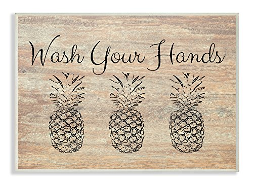 (The Stupell Home Décor Collection Wash Your Hands Pineapple Wall Plaque Art, 10 x 15)