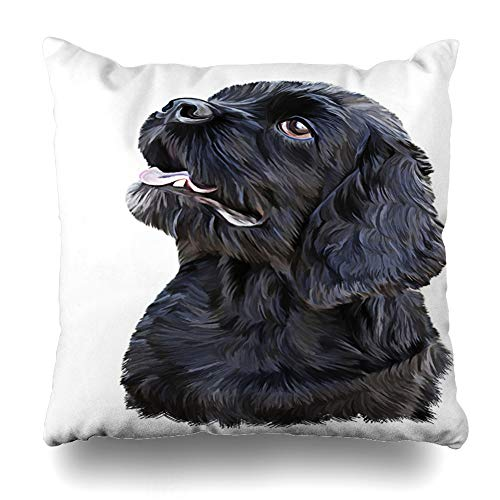 Ahawoso Throw Pillow Cover Canine Brown Barking Drawing Black Dog On Bernese Collar Design Pencil Decorative Pillowcase Square Size 18
