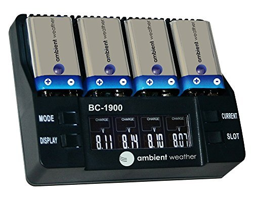 Ambient Weather BC-1900 Intelligent 9V Battery Charger, Anal