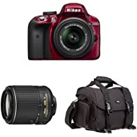 Nikon D3300 DX-Format DSLR Camera (Red) with 18-55mm and 55-200mm Lenses