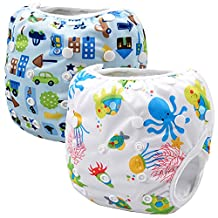 Storeofbaby 2pcs Waterproof Reusable Baby Swim Diapers with Colorful Print (Pack of 2)
