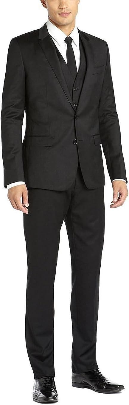 DTI GV Executive Italian Men's Vested Wool Suit 2 Button Jacket 3 Piece Tux Vest