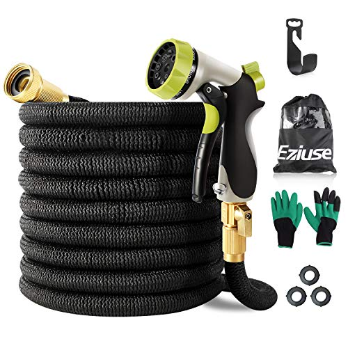 Eziuse 50ft Expandable Garden Hose, Flexible Water Hose Pipe, Brass Bullet Connector, Retractable Coil Garden Hose with Triple Latex Core, Collapsible Shrinking Hose with Metal 8 Function Spray