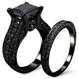 AMiERY Black Gold Sapphire Princess Cut CZ Wedding Engagement Band Bridal Rings Jewelry Set (8)